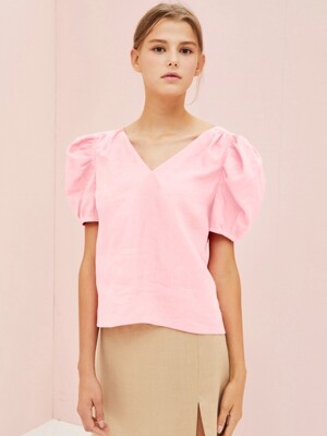 JANE LINEN TOP IN PINK