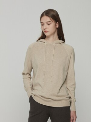 Hooded Knit Beige