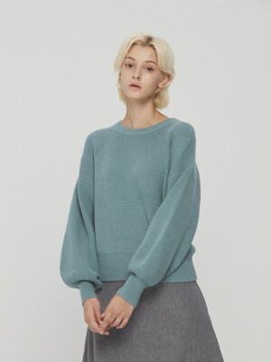 Puff Sleeve Knit Pullover Mint