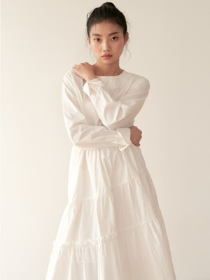19AU SHIRRING DRESS (WHITE)