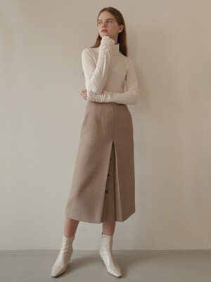 button skirt-beige