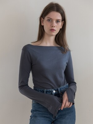 [19FW]Wool blended Tee_Blue Grey