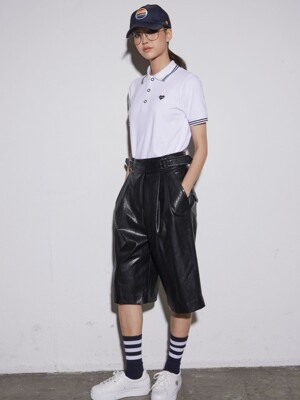 Black Fake Leather Gurkha Shorts