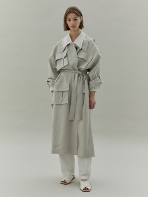 20SS LOW COLLAR POCKET TRENCH COAT - MINT