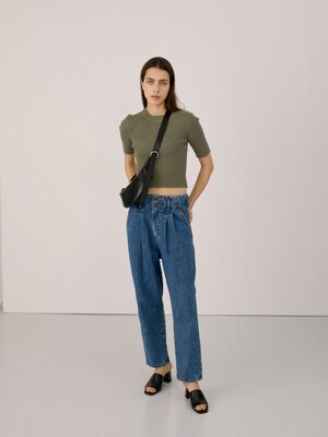 High Waist Pintuck Baggy Jeans