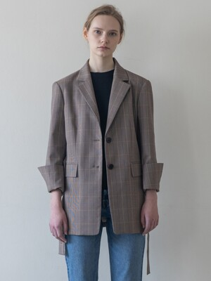Button Detailed Check Single Jacket
