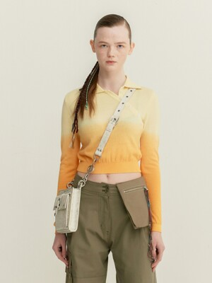 CHELLA PIECE DYED CROPPED KNIT POLO atb399w(LEMON/ORANGE)