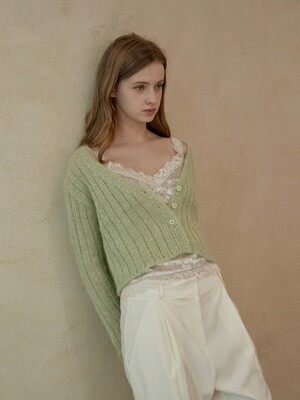 MOHAIR CROP KNIT CARDIGAN[4color]
