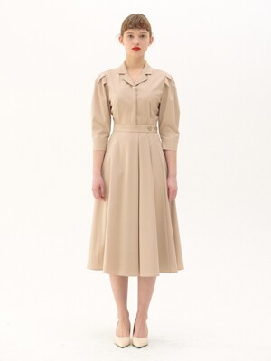 FW Gold Button Long Wrap One-piece_beige