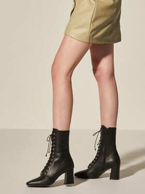 Lace-up Half Boots_Black