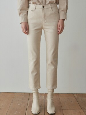 CLEAR SLIM STRAIGHT COTTON PANTS_OATMEAL