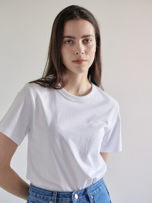 Basic single cotton tee-white