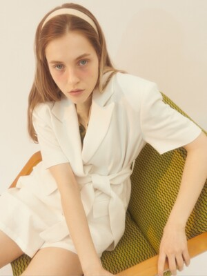 [BREEZE] Half Sleeve Linen Jacket_WHITE (CTD1)