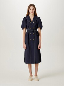Double Button Belted Dress [NAVY] JYDR1B921N3