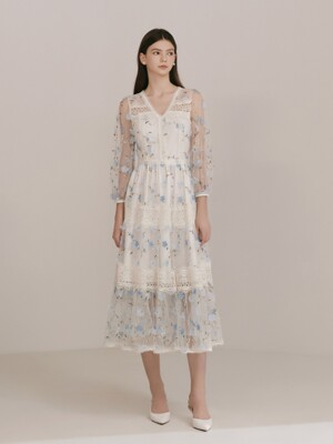 CLAUDIA / See-through Flower Applique Lace Dress(blue)