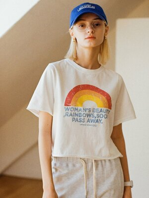 SI TP 5033 Rainbow Washing Crop T-shirt