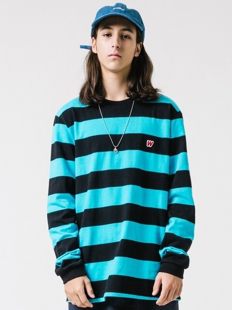W LOGO STRIPE T (BLUE)