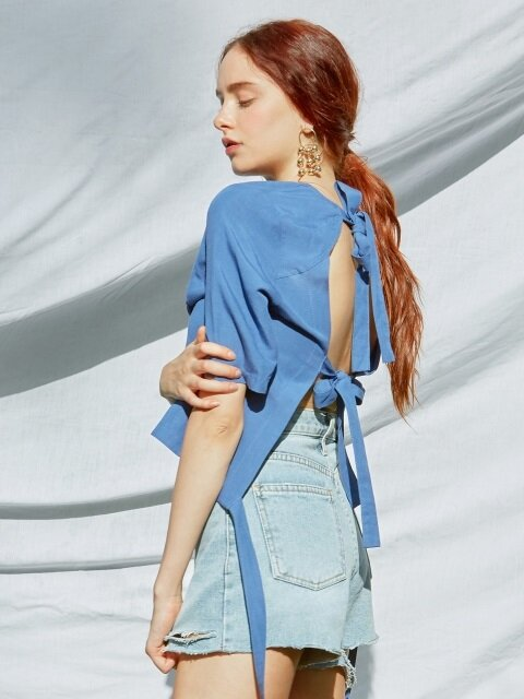 iuw0097 back_ribbon linen blouse (blue)