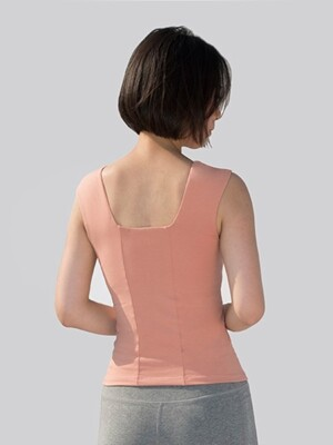 Line Tank Top-Coral Pink