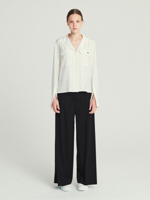 SPLIT SLEEVE SILK SHIRT (IVORY)