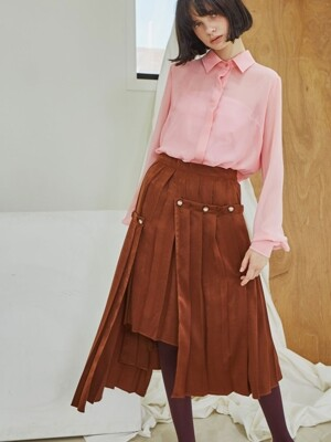 Layered Button Pleats Skirt_Brown