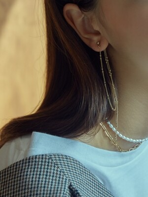TWO BALL CHAIN DROP EARRINGS (GOLD)