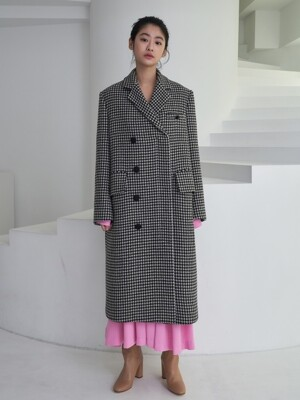 houndstooth pattern coat_black