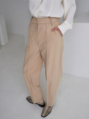 stitch napping pants_cream beige