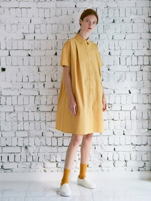 DE BON SHIRT DRESS MUSTARD MICRO CHECK