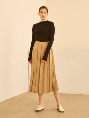 19SS PLEATED WRAP SKIRT YELLOW GREEN