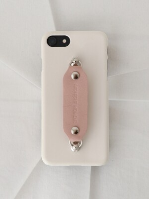 leather grip case cream - pink