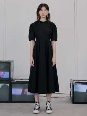 R TWO RIB PUFF SLEEVE DRESS_BLACK
