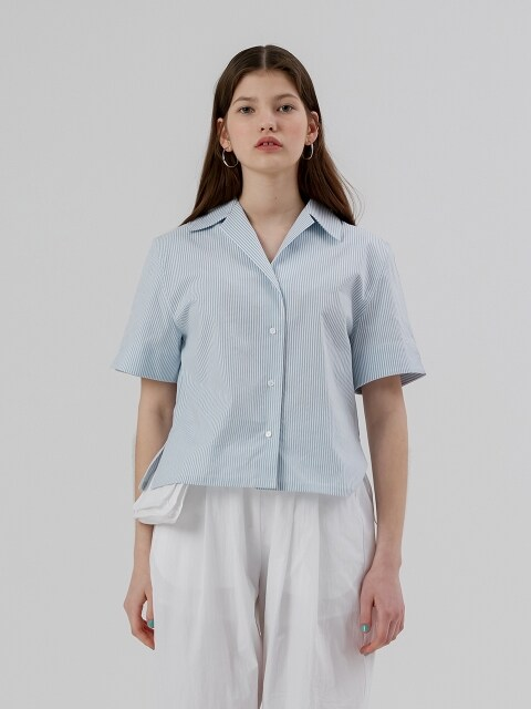 Crop Half Sleeve Open Shirt [Light Blue Stripe]