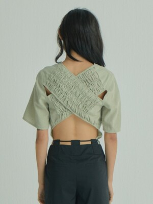 Cross Shirring Top_Light Khaki