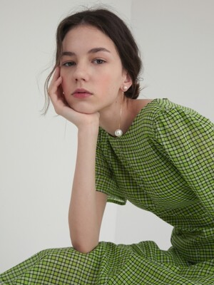 19' SUMMER_Grass-Green Cotton Midi Dress