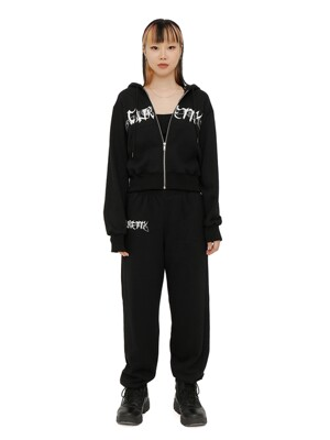 C RHINESTONE SWEAT PANTS_BLACK
