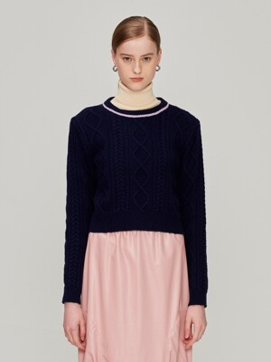 Wool Crop Sweater_Navy