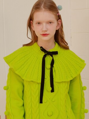 (MF-19737) KNIT CAPE COLLAR LIME