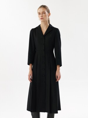 NTW WOOL PLEATED DRESS 2COLOR
