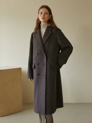 19W HEAVY WOOL DOUBLE BELTED COAT (DEEP PURPLE)