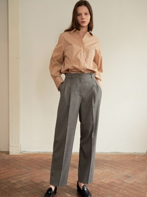 WIDE-LEG TUCK PANTS GRAY AEPA0E006G2