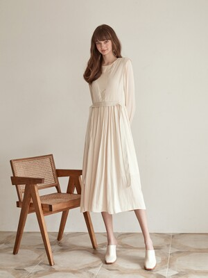 Layer Shirring Satin Dress, Beige