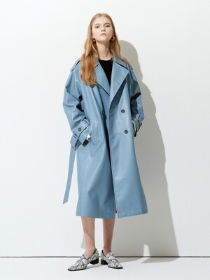OVERSIZE BUTTON POINT ECO TRENCH COAT BLUE