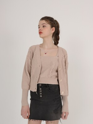 Cable Cardigan Set_Beige