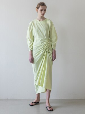 Side Shirring Two-way Long Dress_Lime