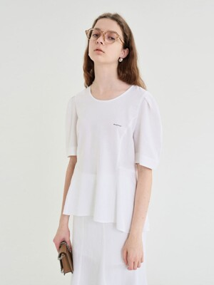 20' SUMMER_White Linen Flare Blouse