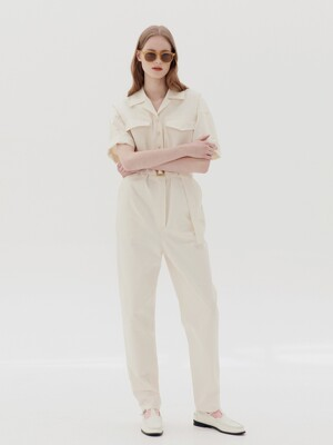 [20SS] ABBOT KINNEY short sleeve safari jumpsuits  (Cream)