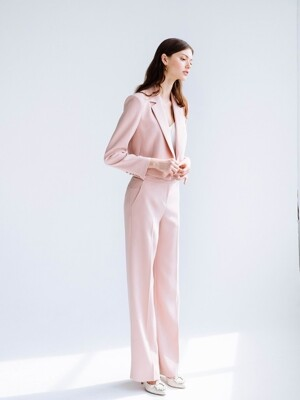 CLEMENCE Tuxedo crop blazer & Trousers (Light Coral Pink)