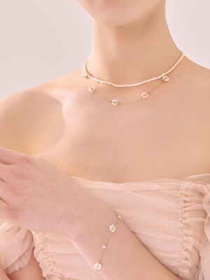 [SET] PEARL FLOWER  NECKLACE & BRACELET SET_SE0114