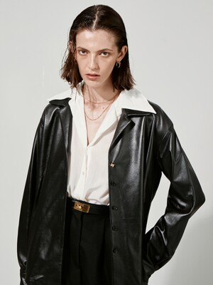 QUENDEL Leather Shirt Black